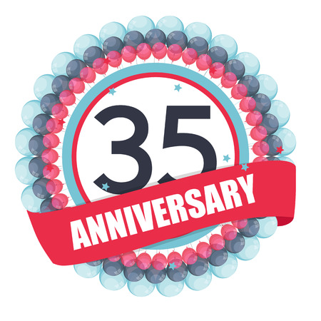 Cute Template 35 Years Anniversary with Balloons and Ribbon