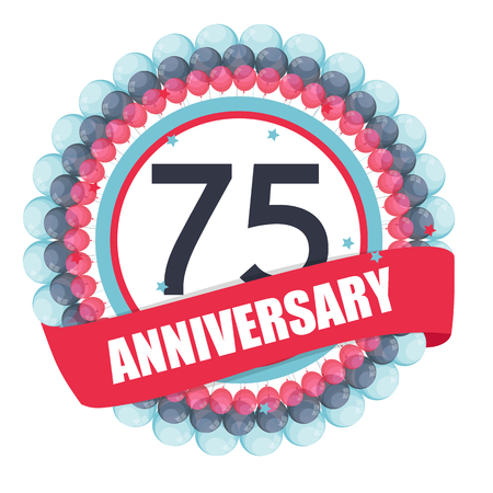 selebration: Cute Template 75 Years Anniversary with Balloons and Ribbon Illustration