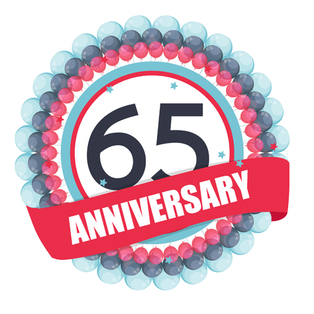 Cute Template 65 Years Anniversary with Balloons and Ribbon Illustration Illustration