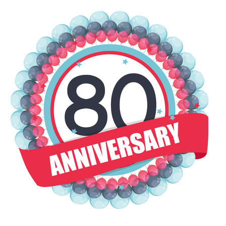 Cute Template 80 Years Anniversary with Balloons and Ribbon Illustration