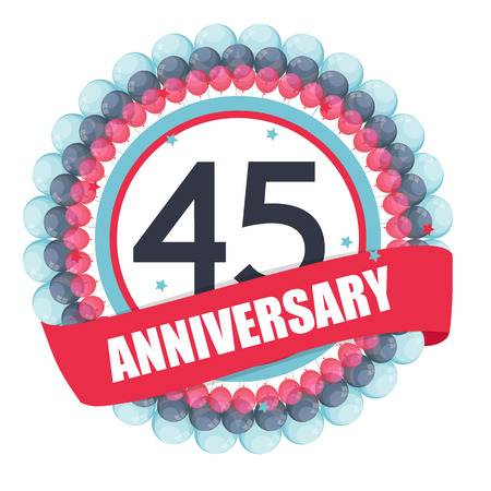 selebration: Cute Template 45 Years Anniversary with Balloons and Ribbon Illustration