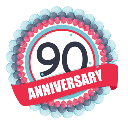 Cute Template 90 Years Anniversary with Balloons and Ribbon Illustration