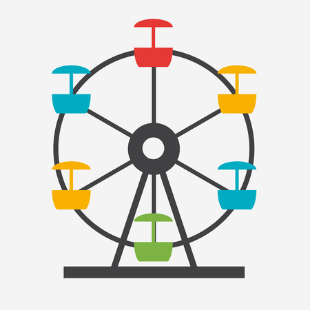 Ferris Wheel Icon Silhouette. Entertainment Round Attraction. Illustration
