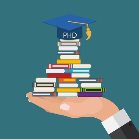 long way: Hard and Long Way to the Doctor of Philosophy Degree PHD Illustration