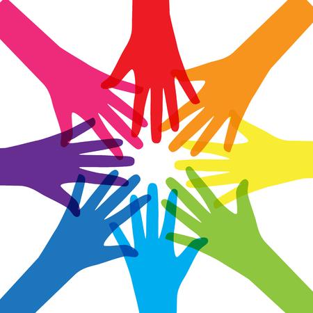 El trabajo en equipo, de la Comunidad, Social Design Concept plana.