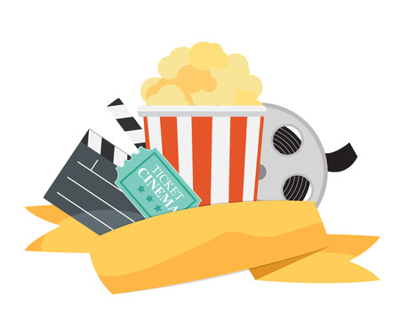Abstract Cinema Flat Background with Reel, Old Style Ticket, Big Pop Corn and Clapper Symbol Icons. Vector Illustration EPS10 Vectores