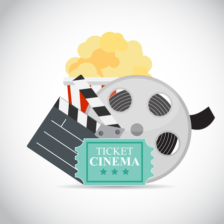 pop corn: Abstract Cinema Flat Background with Reel, Old Style Ticket, Big Pop Corn and Clapper Symbol Icons.