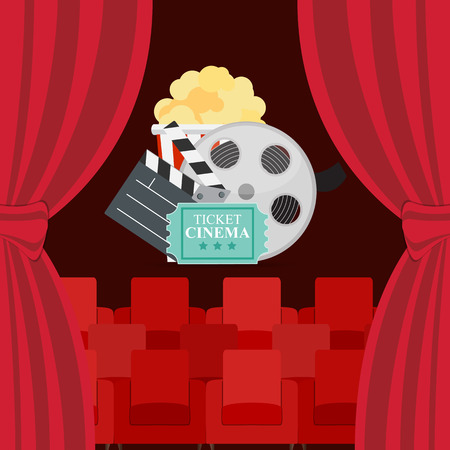 Abstract Cinema Flat Background with Reel, Old Style Ticket, Big Pop Corn and Clapper Symbol Icons.