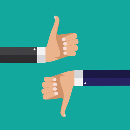 Flat Design Thumbs Up and Down Background