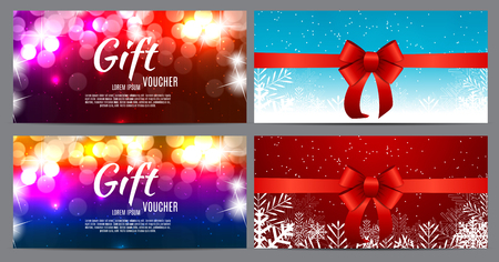 Christmas and New Year Gift Voucher, Discount Coupon Template Collection Set Vector Illustration Illustration