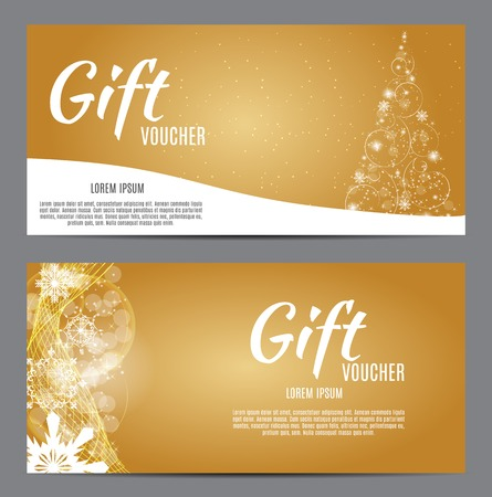 Christmas and New Year Gift Voucher, Discount Coupon Template Vector Illustration EPS10 Illustration