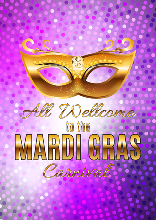 Mardi Gras Party Mask Holiday Poster Background.