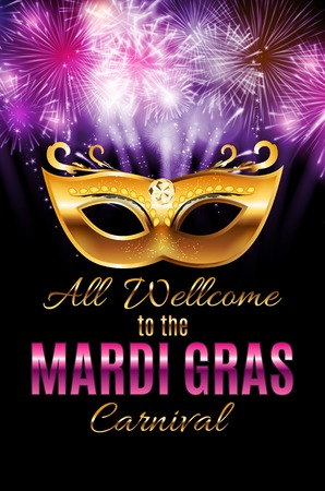 parade: Mardi Gras Party Mask Holiday Poster Background.
