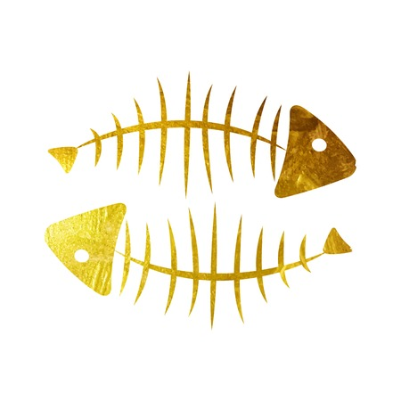 dead fish: Fish Bone Background Illustration