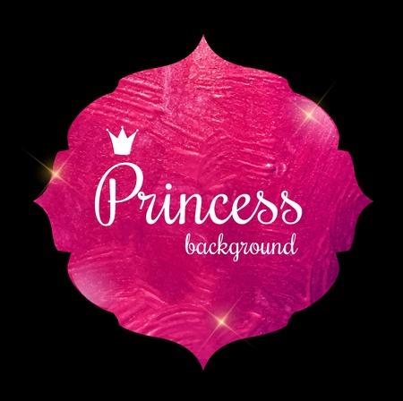 Pink Paint Glittering Textured Princess Crown Frame Vector Illus Illustration