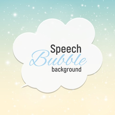 nigth: Speech Bubble with Sample Text against Abstract Glossy Star Sky Illustration