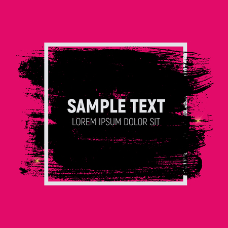 black and pink: Abstract Brush Stroke Designs in Black, Pink and White Texture Illustration