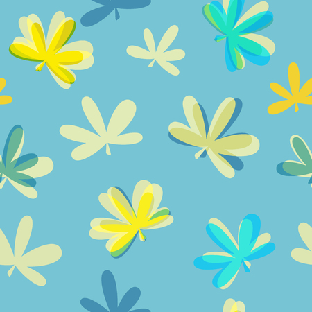 Abstract Natural Leaves Seamless Pattern Background Vector Illus