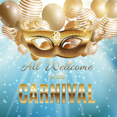 Carnival Party Mask Holiday Poster Background. Vector Illustration Illustration