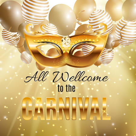 Carnival Party Mask Holiday Poster Background. Vector Illustrati Stock Photo