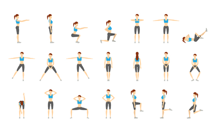 Girl Dioing Exercise on White Background Vector Illustration EPS Illustration