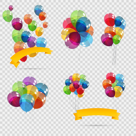Set, Bunches and Groups of Color Glossy Helium Balloons Isolated.