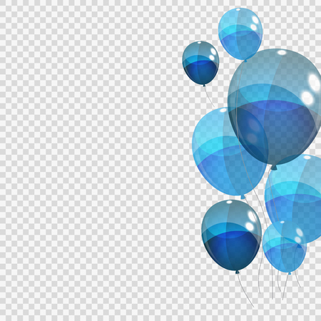 Bunche and Group of Blue Glossy Helium Balloons Isolated on Tran. Illustration