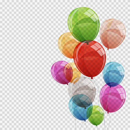 Group of Colour Glossy Helium Balloons Isolated on Transparent B.