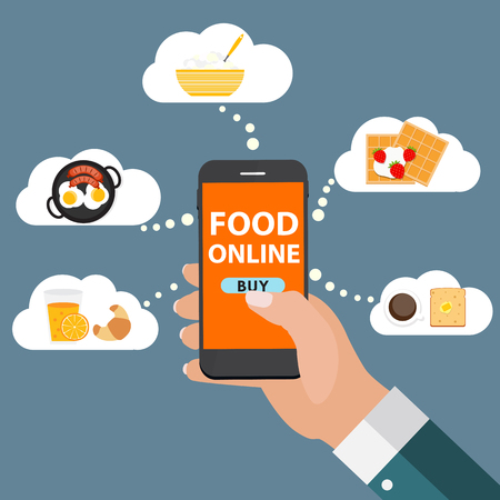 food: Mobile Apps Concept Online Food Delivery, Shopping, E-Commerce i.