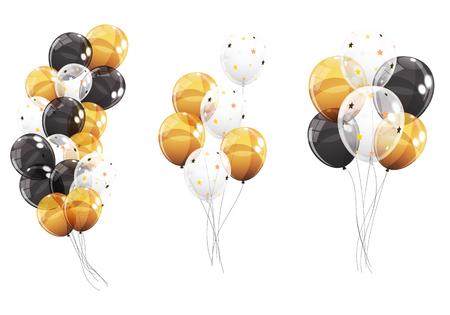 Gruppo di palloncini di elio lucido di colore isolato su bianco Backgro