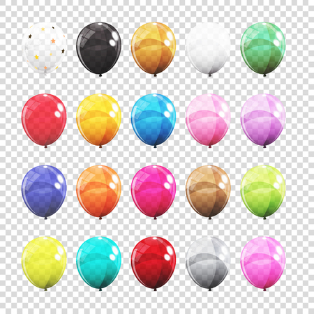 Big Set, Group of Colour Glossy Helium Balloons Isolated on Tran