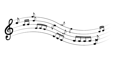 Set of musical notes on five-line clock notation without a featu Illustration