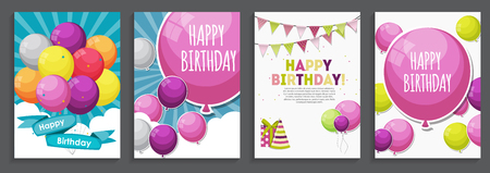 rainbow sky: Happy Birthday, Holiday  Greeting and Invitation Card Template Set with Balloons and Flags. Vector Illustration EPS10