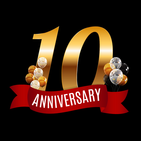 selebration: Golden 10 Years Anniversary Template with Red Ribbon Vector Illustration Illustration