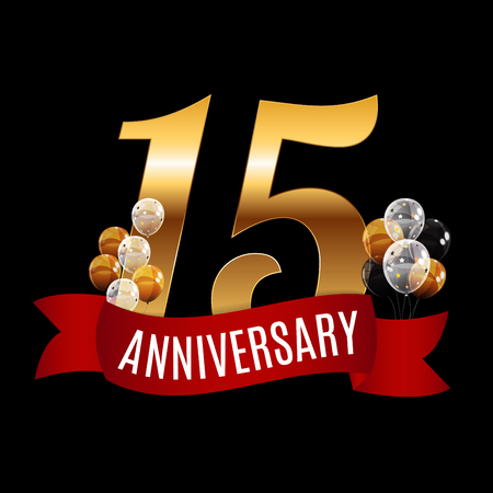 Golden 15 Years Anniversary Template with Red Ribbon Vector Illustration