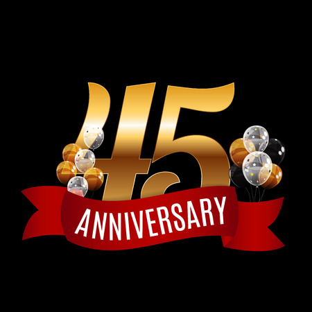 Golden 45 Years Anniversary Template with Red Ribbon Vector Illustration