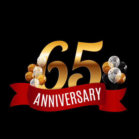 Golden 65 Years Anniversary Template with Red Ribbon Vector Illustration Illustration