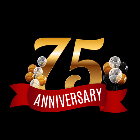 Golden 75 Years Anniversary Template with Red Ribbon Vector Illustration Illustration