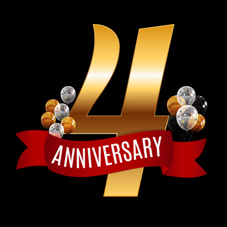 Golden 4 Years Anniversary Template with Red Ribbon Vector Illustration