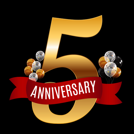 selebration: Golden 5 Years Anniversary Template with Red Ribbon Vector Illustration Illustration