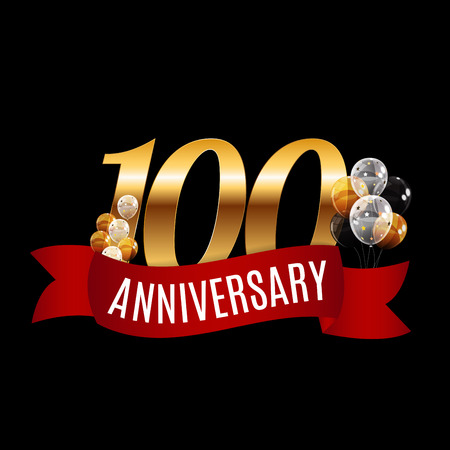 Golden 100 Years Anniversary Template with Red Ribbon Vector Illustration Illustration