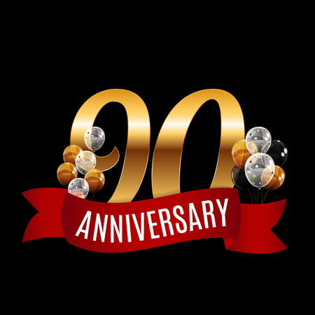 Golden 95 Years Anniversary Template with Red Ribbon Vector Illustration