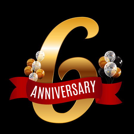 Golden 6 Years Anniversary Template with Red Ribbon Vector Illus