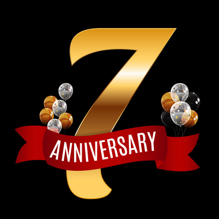 Golden 7 Years Anniversary Template with Red Ribbon Vector Illus Illustration