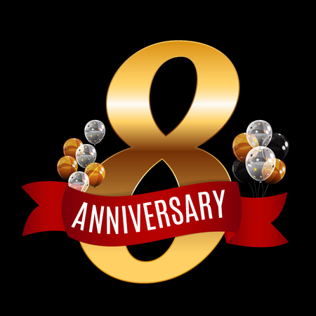 Golden 8 Years Anniversary Template with Red Ribbon Vector Illus Illustration