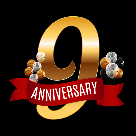 Golden 9 Years Anniversary Template with Red Ribbon Vector Illus