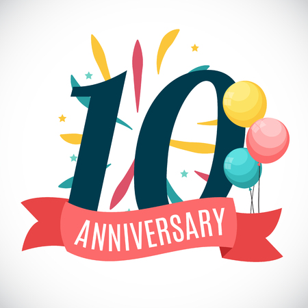 Anniversary 10 Years Template with Ribbon Vector Illustration Illustration