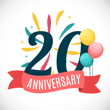 selebration: Anniversary 20 Years Template with Ribbon Vector Illustration