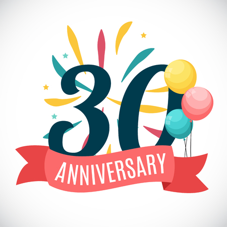 Anniversary 30 Years Template with Ribbon Vector Illustration
