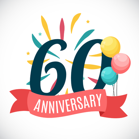 Anniversary 60 Years Template with Ribbon Vector Illustration